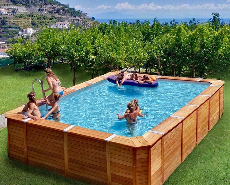 Modello di piscina fuori terra in legno n.06