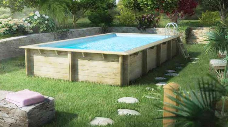 Modello di piscina fuori terra in legno n.07