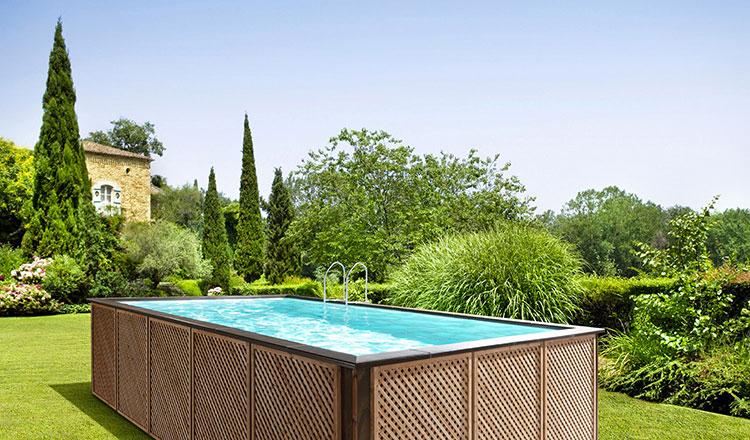 Modello di piscina fuori terra in legno n.10