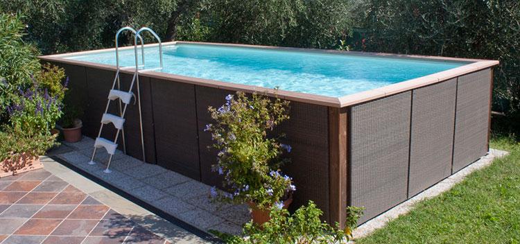 Modello di piscina fuori terra in legno n.11