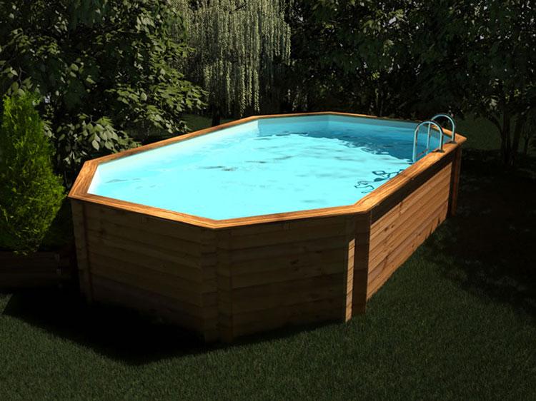 Modello di piscina fuori terra in legno n.12