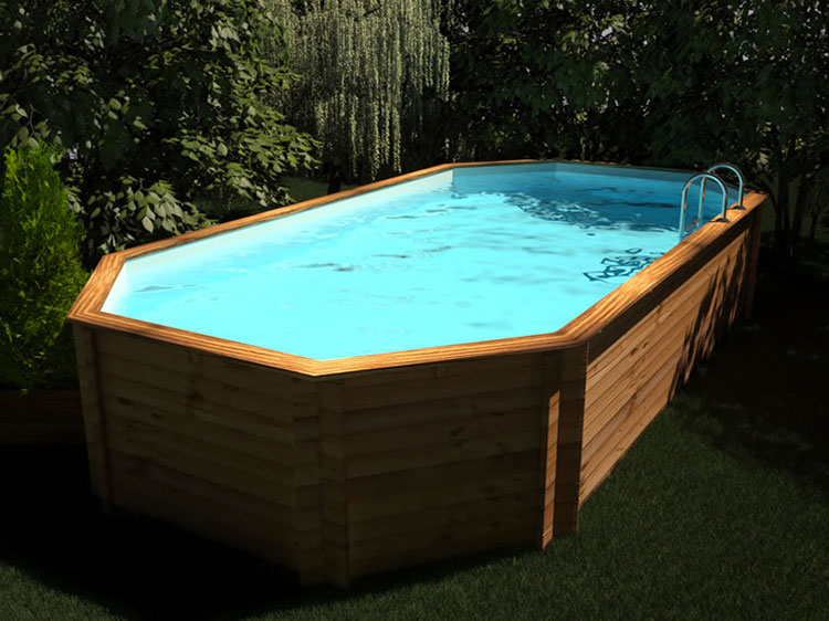 Modello di piscina fuori terra in legno n.14