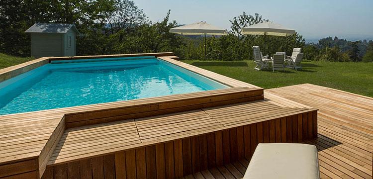 Modello di piscina fuori terra in legno n.15