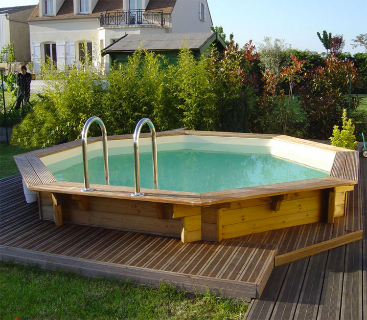 Modello di piscina fuori terra in legno n.17