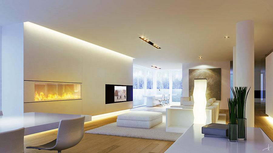 Idee per arredare un soggiorno bianco dal design moderno n.01