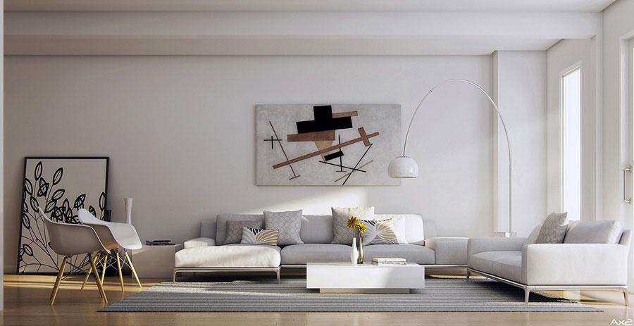 Idee per arredare un soggiorno bianco dal design moderno n.03
