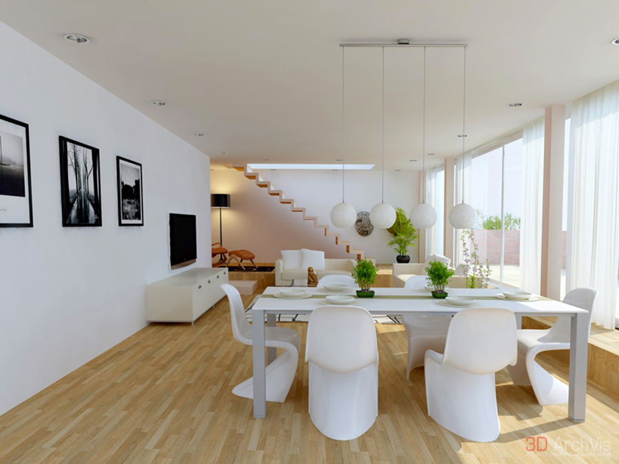 Idee per arredare un soggiorno bianco dal design moderno n.05