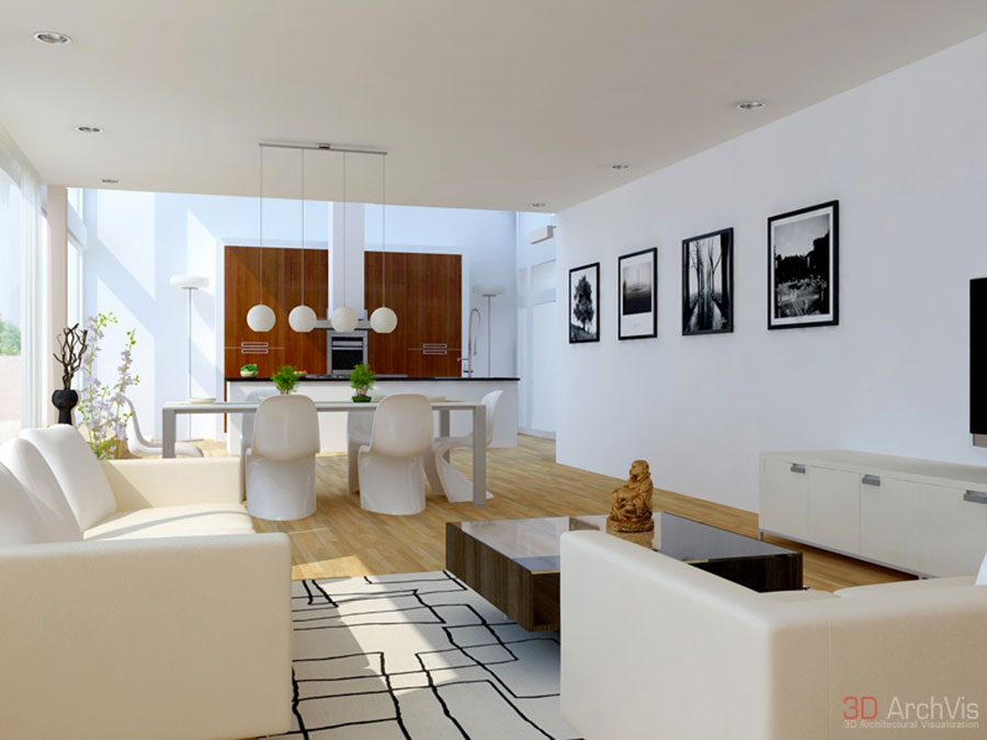 Idee per arredare un soggiorno bianco dal design moderno n.06