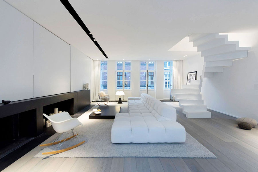 Idee per arredare un soggiorno bianco dal design moderno n.07