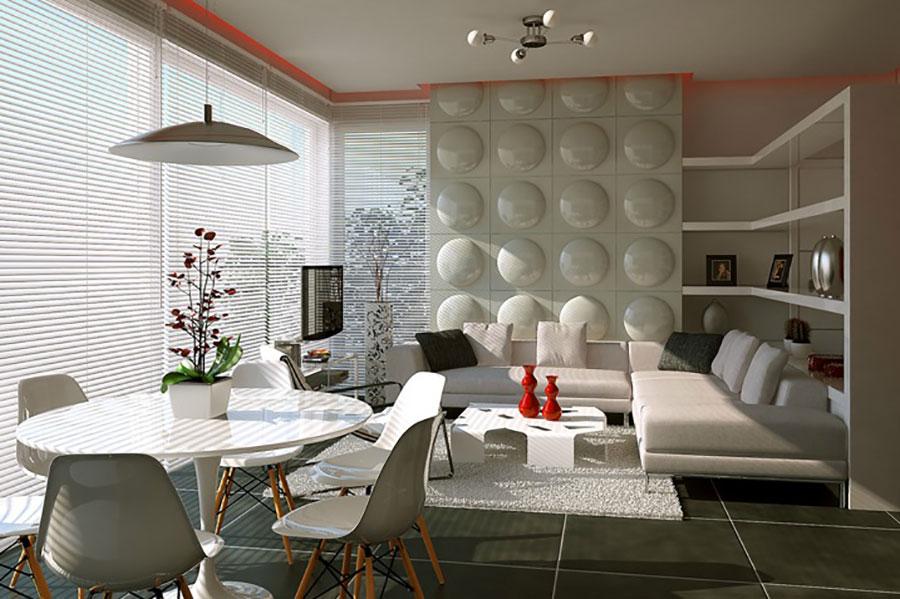 Idee per arredare un soggiorno bianco dal design moderno n.12