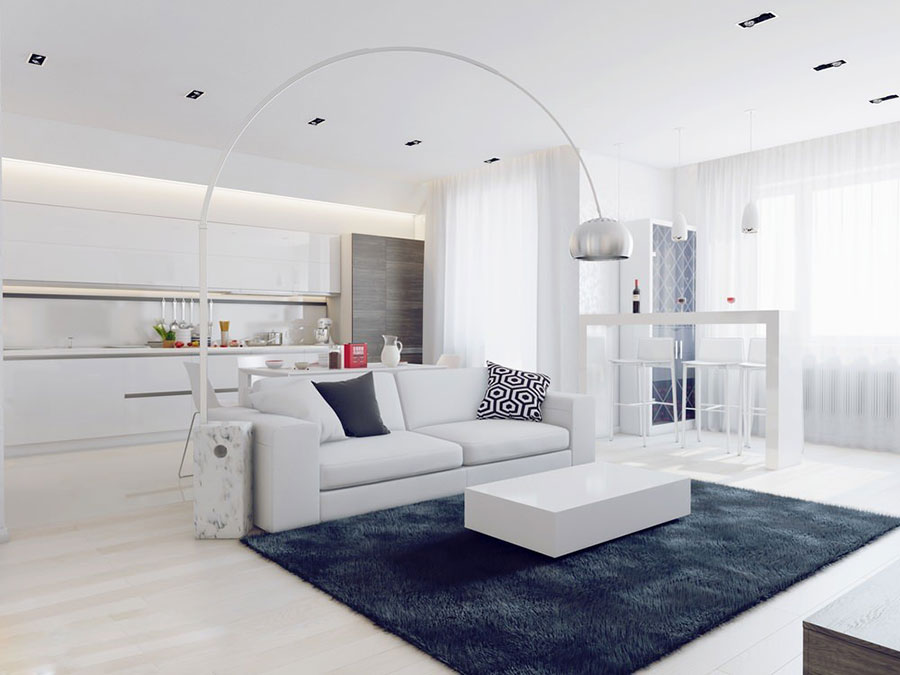 Idee per arredare un soggiorno bianco dal design moderno for Idee per arredare soggiorno moderno