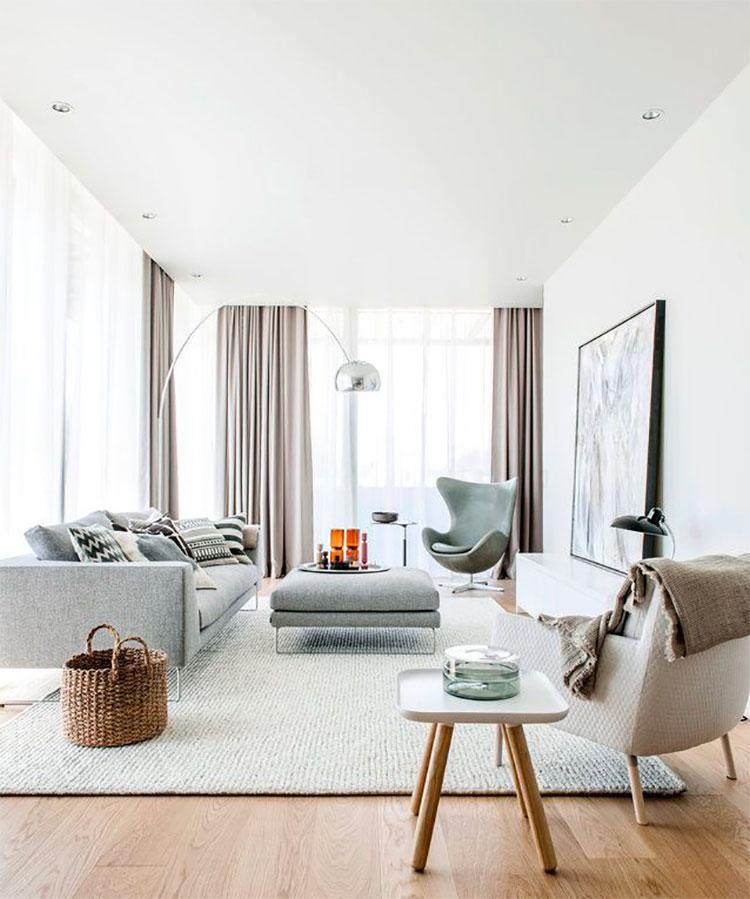 Idee per arredare un soggiorno bianco e grigio n.01