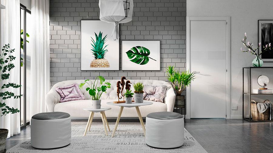 Idee per arredare un soggiorno bianco e grigio n.02