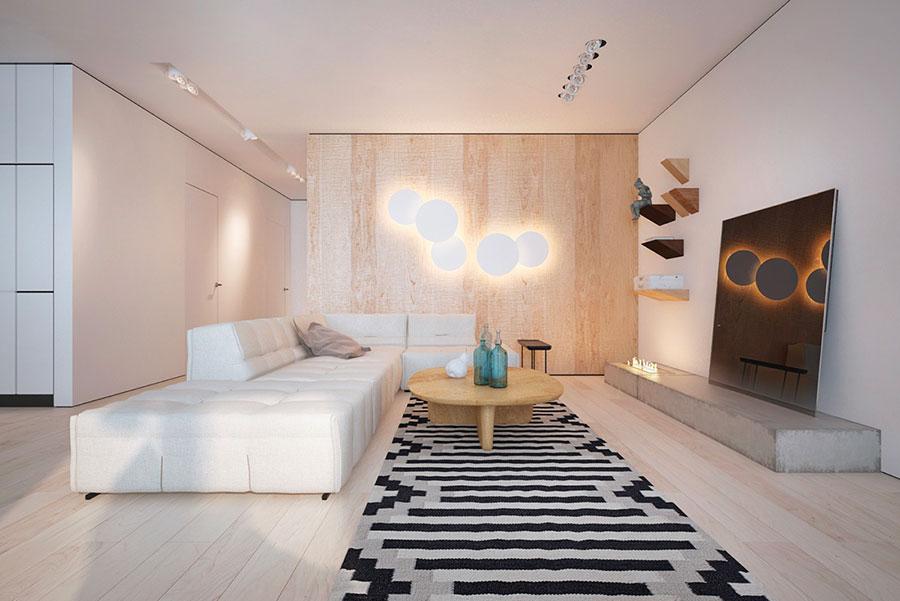 Idee per arredare un soggiorno bianco e legno n.01