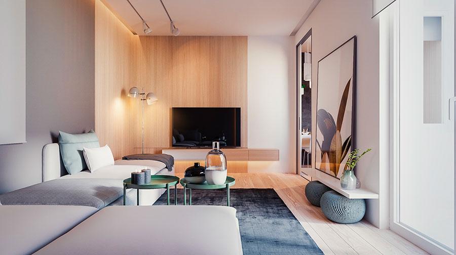 Idee per arredare un soggiorno bianco e legno n.02
