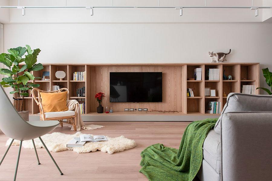 Idee per arredare un soggiorno bianco e legno n.03