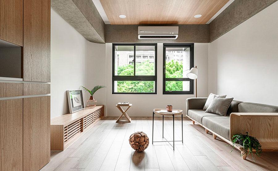 Idee per arredare un soggiorno bianco e legno n.04