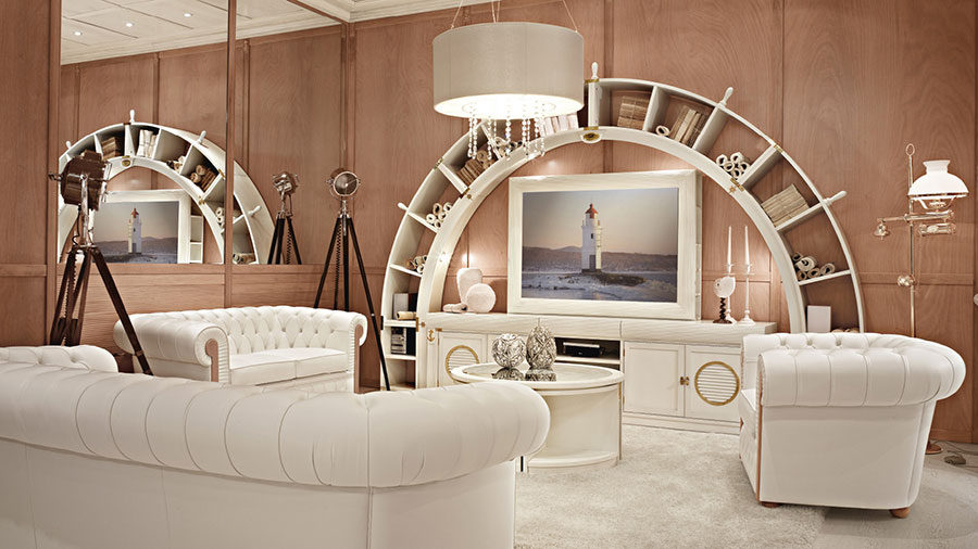 Idee per arredare un soggiorno bianco classico 01