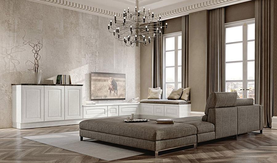 Idee per arredare un soggiorno classico moderno bianco n.01