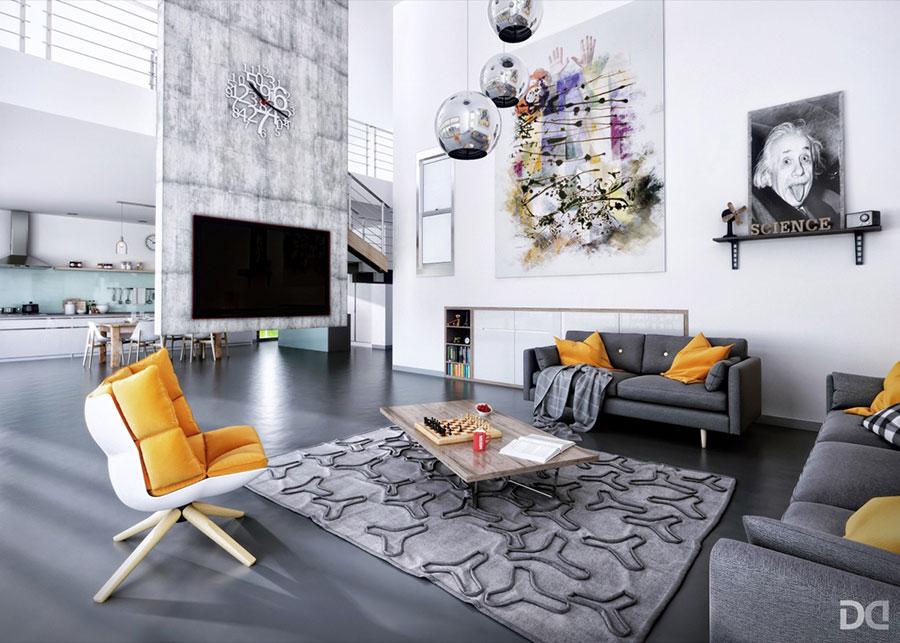 Idee per arredare un soggiorno grigio dal design moderno n.05