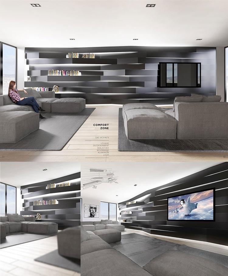 Idee per arredare un soggiorno grigio dal design moderno n.06