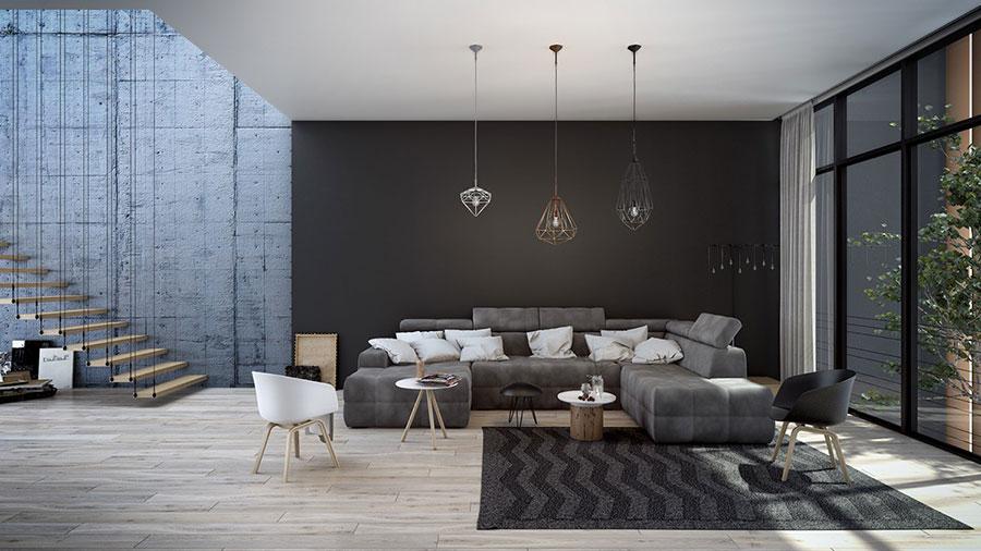 Idee per arredare un soggiorno grigio dal design moderno n.07