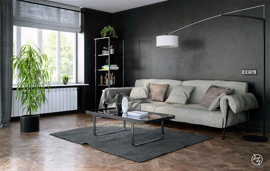 Pareti del soggiorno di colore grigio n.02