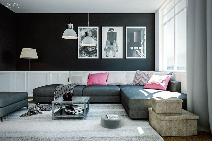 Idee per arredare un soggiorno grigio dal design moderno n.10