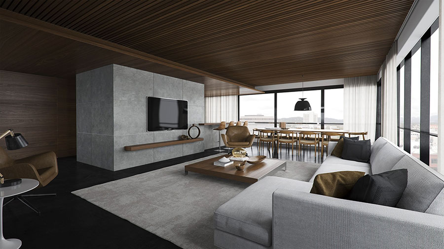 Idee per arredare un soggiorno grigio dal design moderno n.15