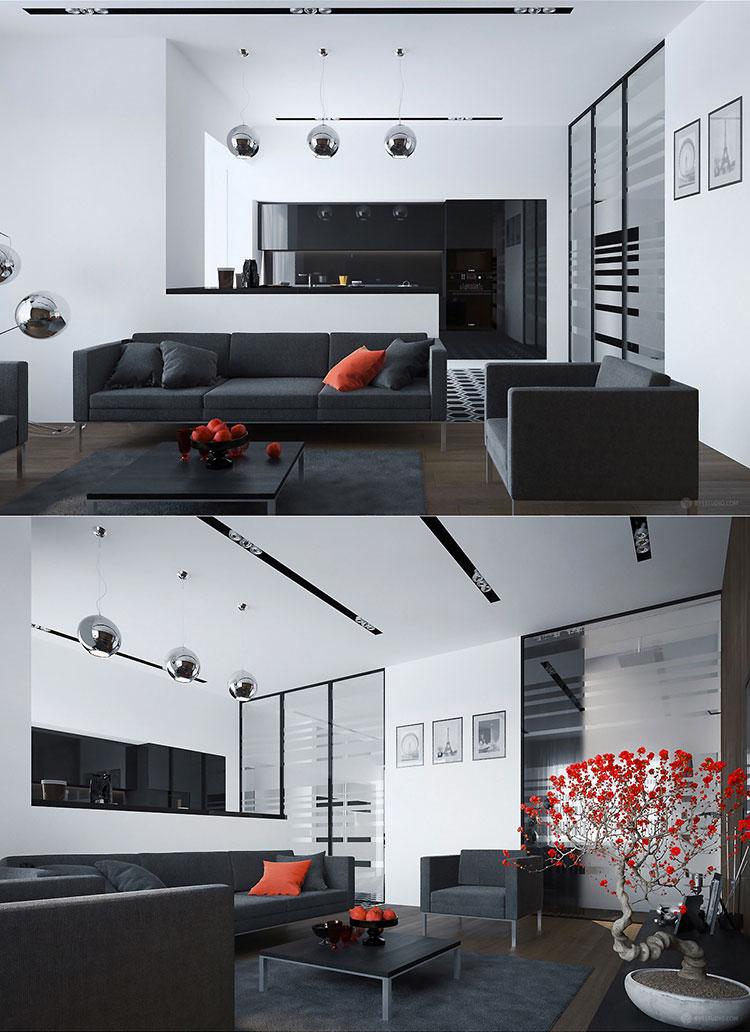 Idee per arredare un soggiorno grigio dal design moderno n.16