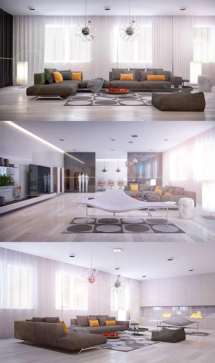 Idee per arredare un soggiorno grigio dal design moderno n.17