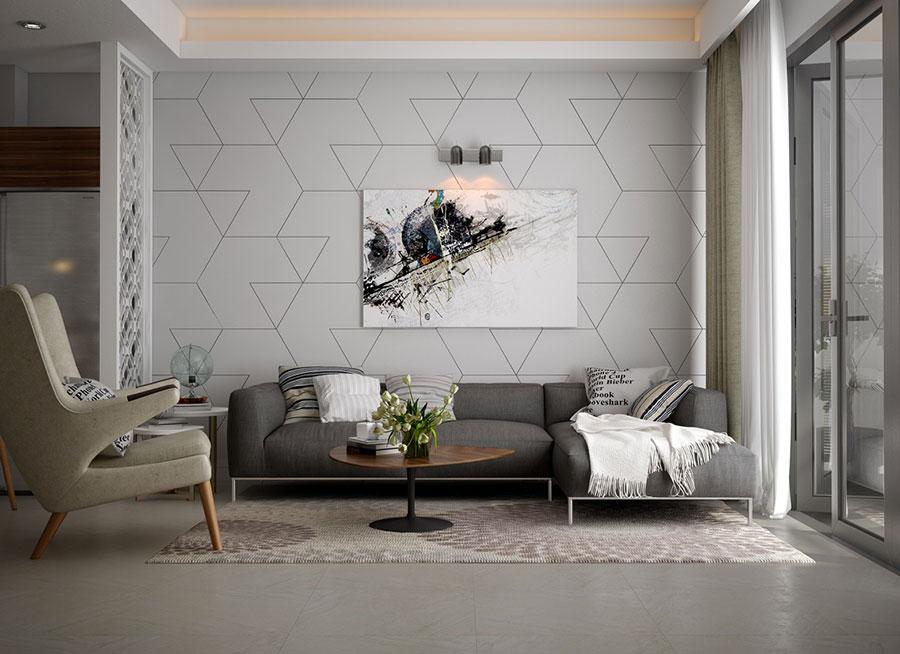 Idee per arredare un soggiorno grigio dal design moderno n.18