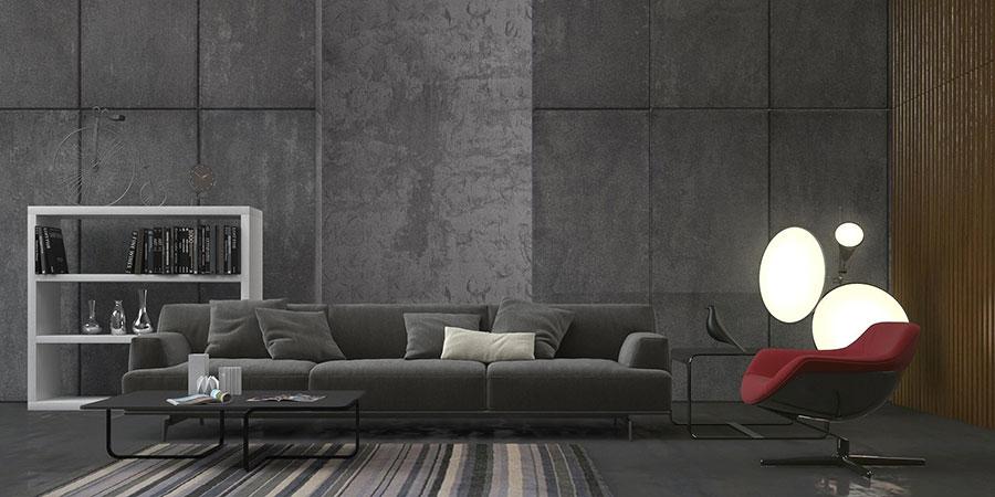 Idee per arredare un soggiorno grigio dal design moderno n.19