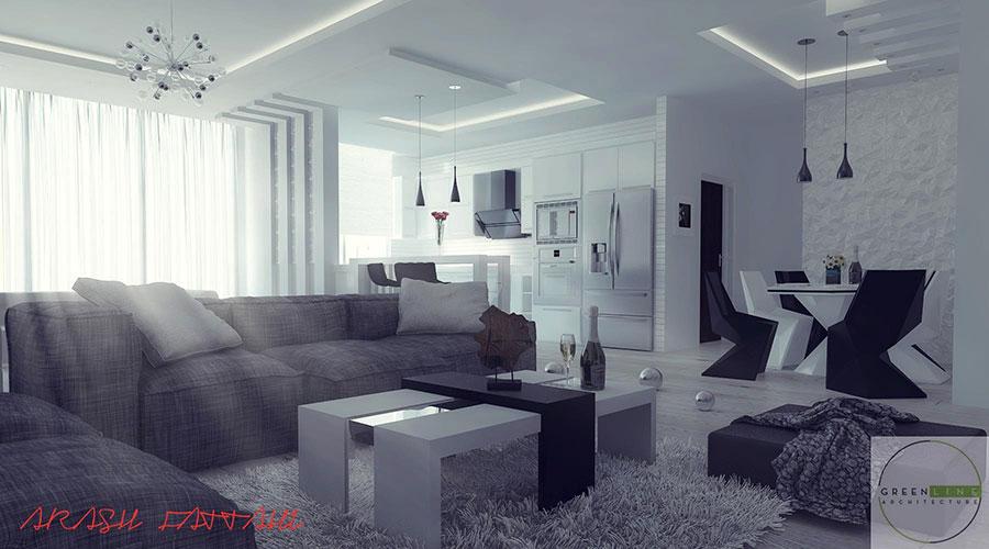 Idee per arredare un soggiorno grigio dal design moderno n.20