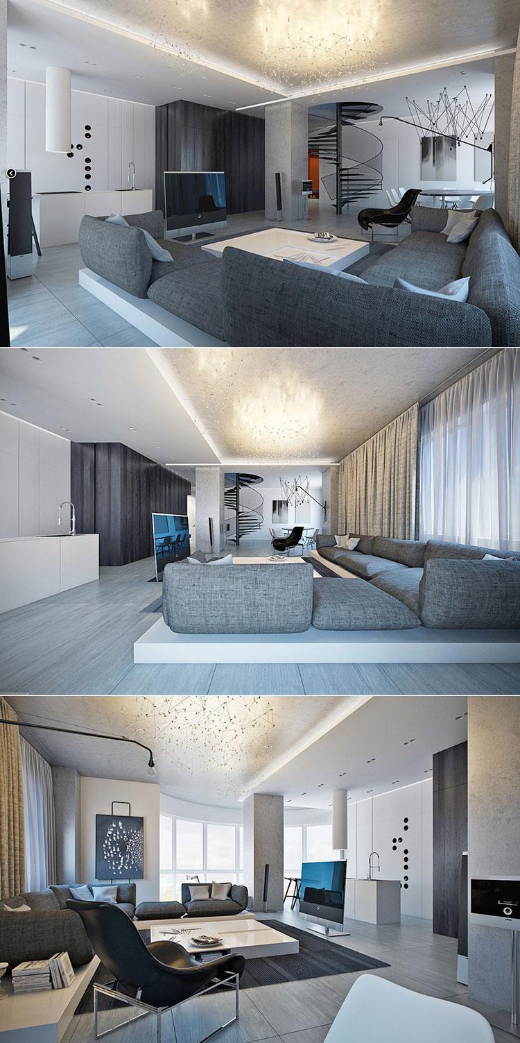 Idee per arredare un soggiorno grigio dal design moderno n.21
