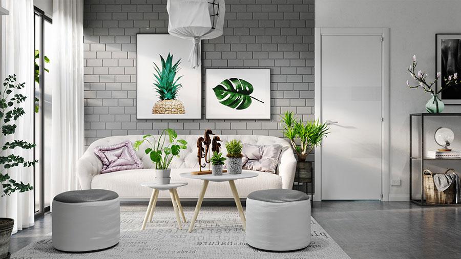 Idee per arredare il soggiorno grigio e bianco n.01