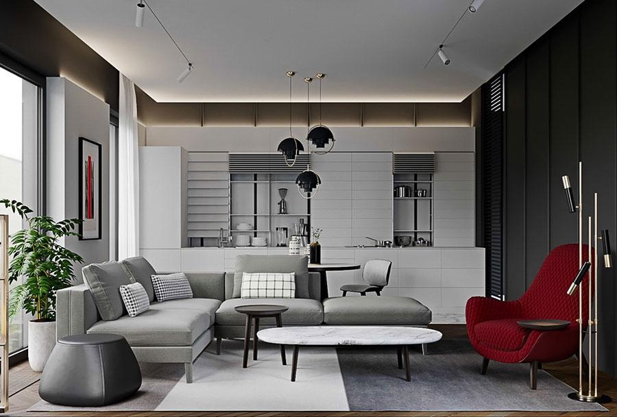 Idee per arredare il soggiorno grigio e bianco n.03