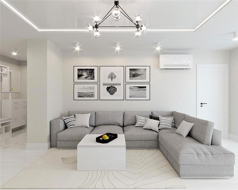 Idee per arredare il soggiorno grigio e bianco n.04
