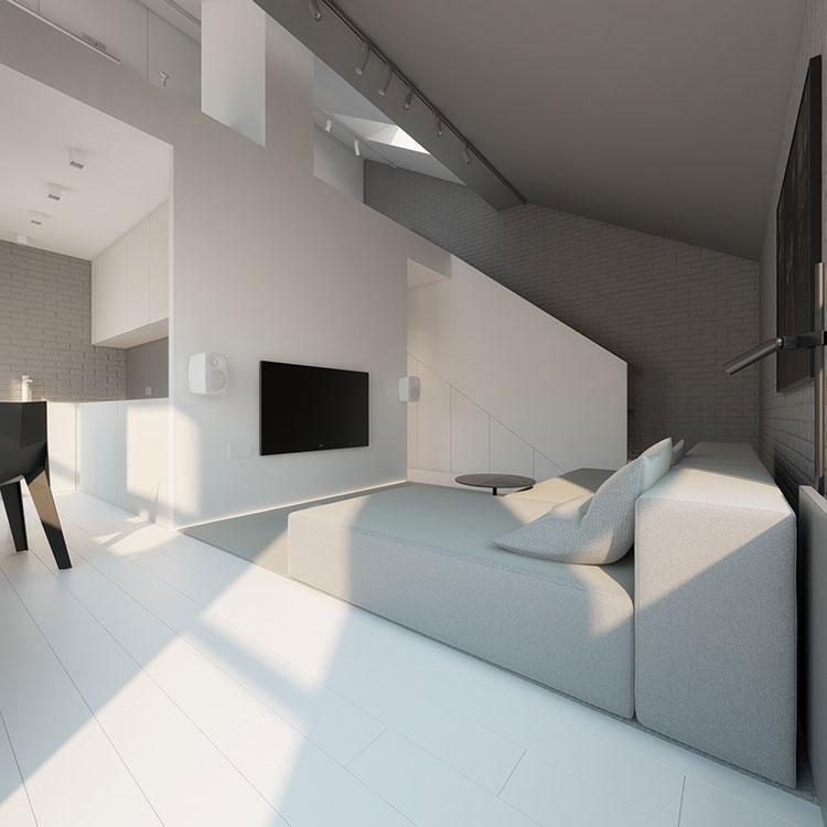 Idee per arredare il soggiorno grigio e bianco n.05