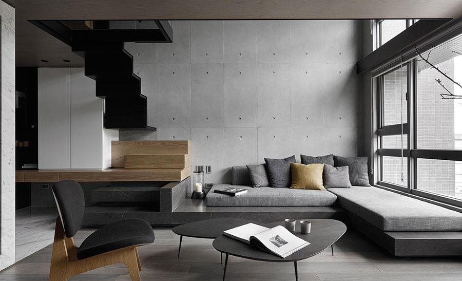 Idee per arredare il soggiorno grigio e legno n.01