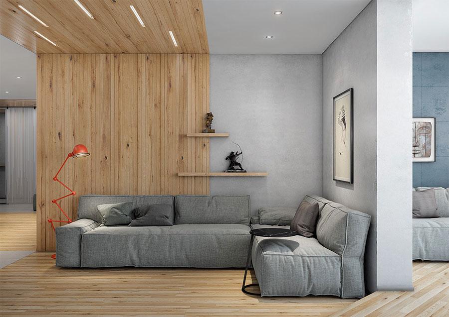 Idee per arredare il soggiorno grigio e legno n.02