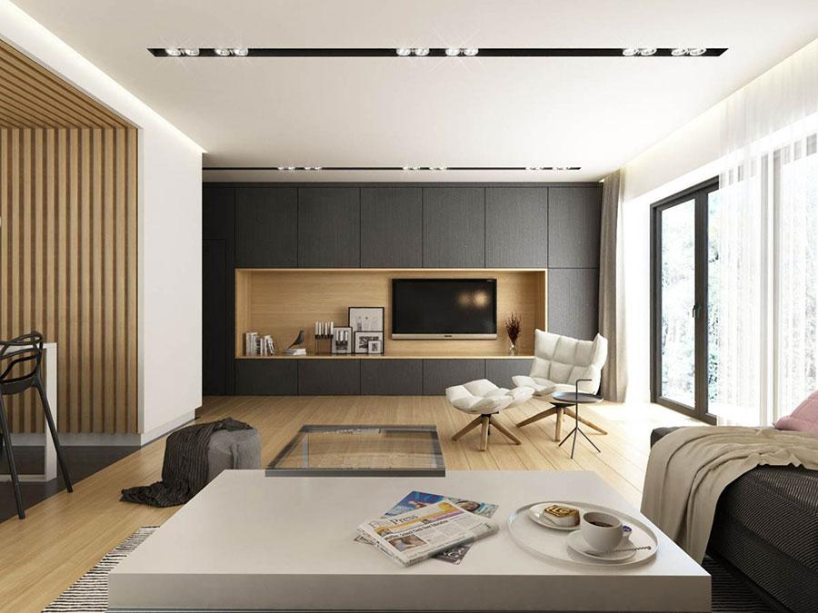 Idee per arredare il soggiorno grigio e legno n.03