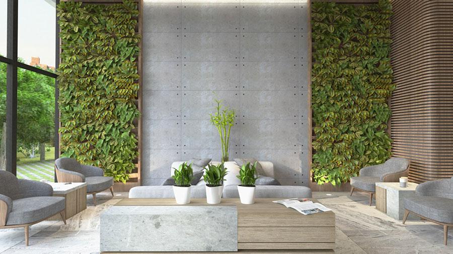 Idee per arredare il soggiorno grigio e legno n.04