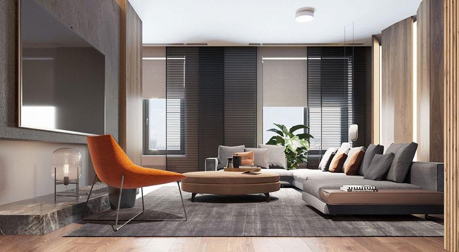 Idee per arredare il soggiorno grigio e legno n.05