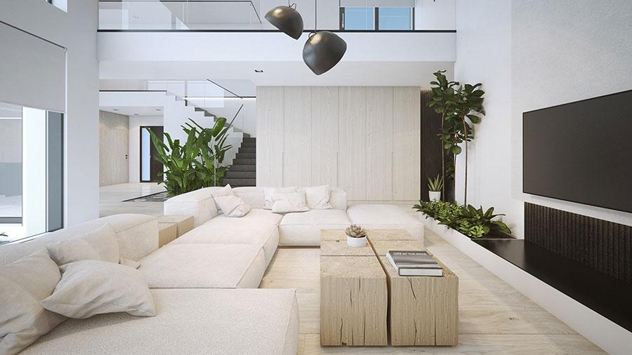 Idee per arredare un soggiorno bianco dal design moderno n.19