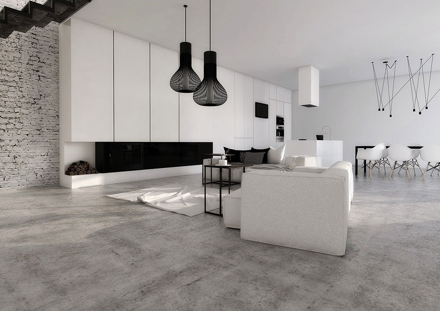 Idee per arredare un soggiorno bianco dal design moderno n.20