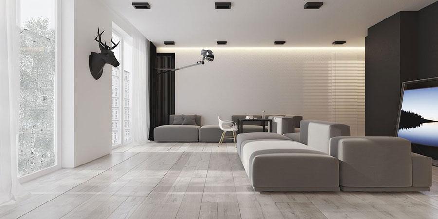 Pareti del soggiorno di colore bianco e nero n.03