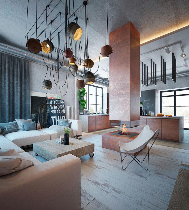 Idee per arredare il soggiorno in stile industriale n.01