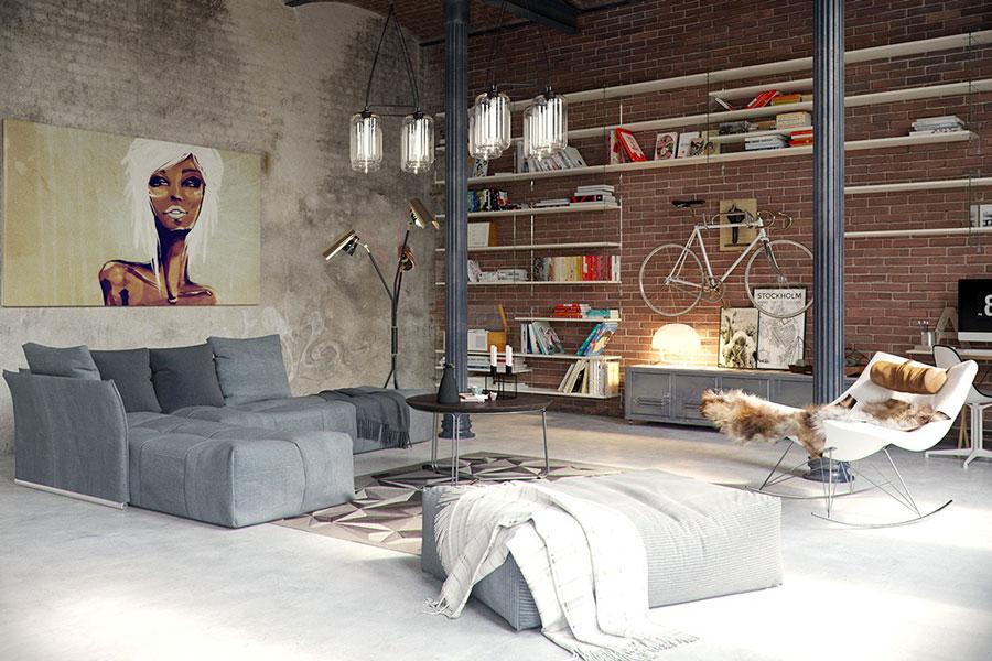 Idee per arredare il soggiorno in stile industriale n.02
