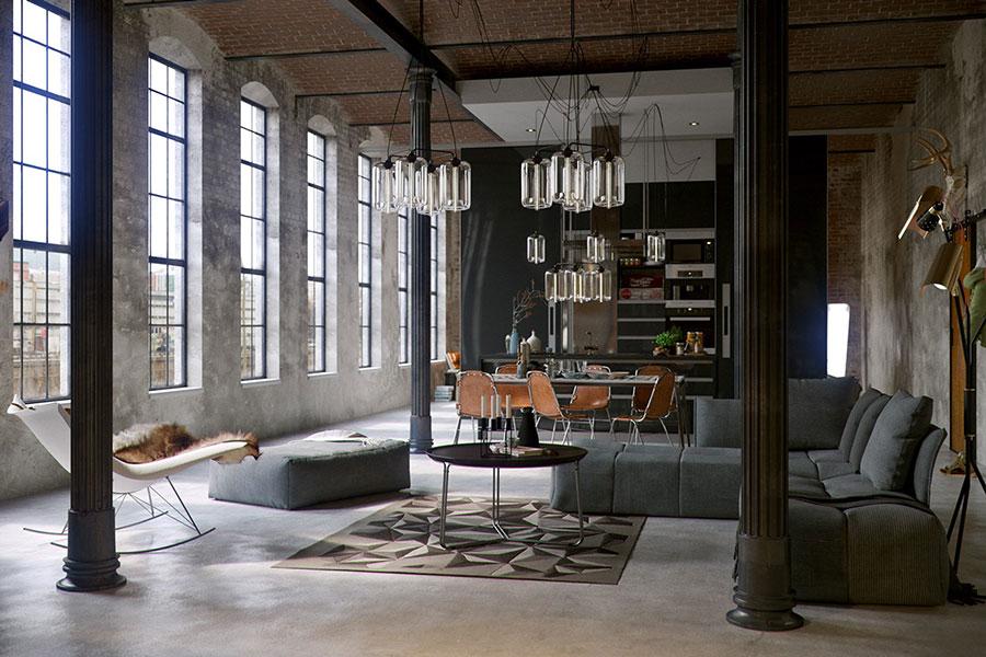 Idee per arredare il soggiorno in stile industriale n.03